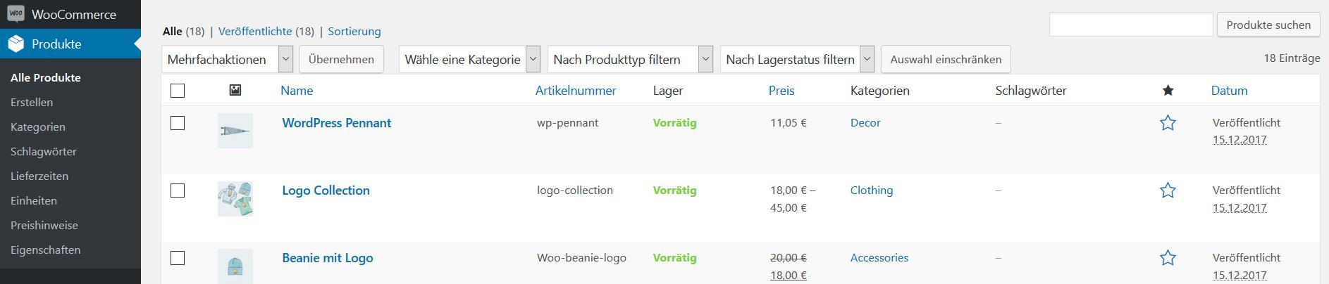 WooCommerce-Produktverwaltung